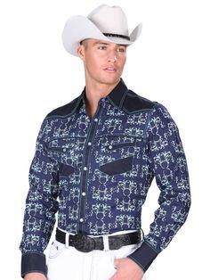 34229 Camisa Vaquera Caballero El General, 100% Cotton - Navy