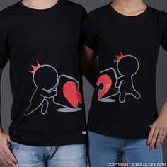 The latest addition to BoldLoft matching couple shirts, Incomplete Without You couple t shirts. These couple t shirts beautifully demonstrate once you find the missing piece to the puzzle of your life, things will never be the same. Featuring a male and a female cartoon characters holding a heart puzzle. These his and hers shirts are perfect gifts for wife, husband, anniversary, Valentines Day, and wedding.