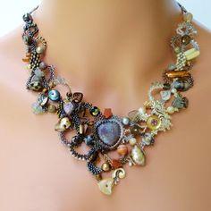 Freeform Peyote Necklace Tears of the Moon by PeyoteBeadArt