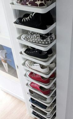27 Cool & Clever Shoe Storage Ideas for Small Spaces is part of Closet organization designs - Do you have lots of shoes but very little space to store them You've come to the right place! Here are shoe storage solutions perfect for your tiny home! Best Shoe Rack, Diy Shoe Rack, How To Store Shoes, Rack Design, Closet Designs, Home Design, Design Ideas, Interior Design, Modern Interior