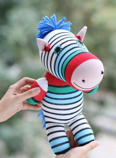 T8 Stuffed Zebra doll toy  plush  Colored zebra stripes  doll   handmade doll baby shower gift  1# by Toyapartment on Etsy (null)