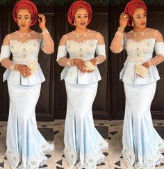 If there's one thing we can't get enough of its Nigerian fashionistas nailing their own personal style in timeless Aso-Ebi styles. Each week we bring you our Aso-Ebi style pick… Kids Prom Dresses, Sexy Evening Dress, Evening Dresses Plus Size, Prom Dresses Long With Sleeves, Prom Dresses For Sale, Lace Dresses, African Dresses For Women, African Attire, African Fashion Dresses