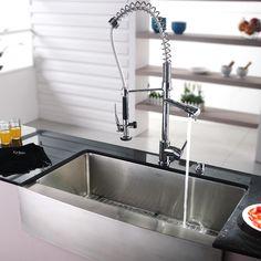Stainless Steel Farmhouse Kitchen Sink | Kraus Stainless Steel Farmhouse Kitchen Sink With Chrome Faucet ...