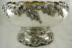 Redlich Sterling Silver Pine Cone & Needle Punch Bowl c.1895