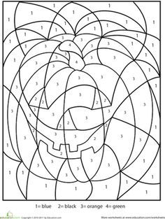 Halloween Kindergarten First Grade Color by Number Worksheets: Halloween Color-by-Number This Halloween color-by-number worksheet has a spooky hidden picture. Color this Halloween color-by-number to find out what's hiding in the numbers. Halloween Worksheets, Halloween Activities, Worksheets For Kids, Holidays Halloween, Halloween Themes, Halloween Crafts, Fall Crafts, Number Worksheets, Multiplication Worksheets