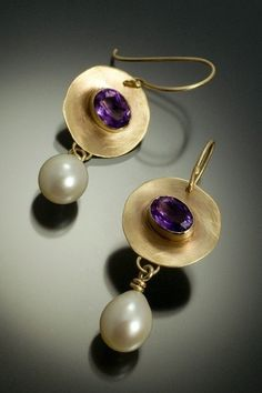 Gold & Amethyst & Pearl Earrings 14k gold earrings with bezel set amethyst and cultured freshwater pearls, matte finish, and 14k gold french earwires.   Lisa Gent of Lisa Gent Handcrafted Jewelry - Cape Elizabeth, ME  Beautiful proportions and fabrication.