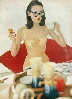 Karen Radkai   Model drinking tea in her undergarments (1956) | Luscious loves: Vintage fashion photographer Karen Radkai