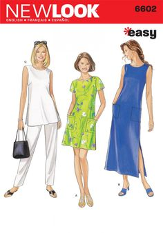 New Look Ladies Easy Sewing Pattern 6602 Tunic Tops, Dresses & Pants New Look Dress Patterns, New Look Dresses, Dress Sewing Patterns, Clothing Patterns, Embroidery Patterns, Hand Embroidery, Beginner Sewing Patterns, Sewing For Beginners, Sewing Tips