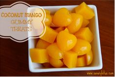 COCONUT MANGO GUMMY TREATS Ingredients      1 cup coconut water     ½ cup fresh lemon juice     1 large ripe mango     6 TBS grass-fed gelatin powder     OPTIONAL:     1-2 TBS honey