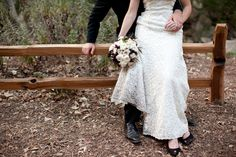 Love the attention to the dress and bouquet at an outdoor wedding, I think it would be cute a little closer to also bring out the rings