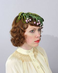 Vintage 1950s Hat Floral Fascinator Green by LivingThreadsVintage