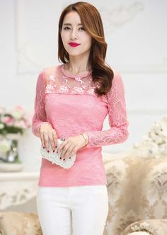 Women's #pink long sleeve #TShirt flower lace hollow cut design, round neck, Pull over.