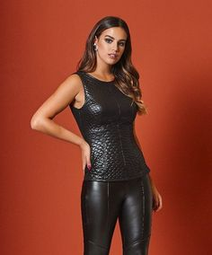 Matelassé quilted black leather vest top with leather pants