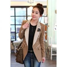 @NeverWithoutMakeup I joined @Sammydress fall wardrobe #contest    $20.98 New Style Lapel Double Breasted Color Block Long Sleeves Column Woolen Blazer For Women