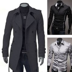 MENS DOUBLE BREASTED TRENCH COAT MEN'S WINTER LONG COATS JACKET OR CASUAL SHIRTS | eBay
