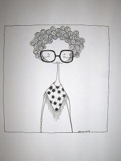 Doodle Art Drawing, Art Drawings Sketches, Easy Drawings, Illustration Art Dessin, Illustrations, Dibujos Zentangle Art, Doodle People, Pen Art, Face Art