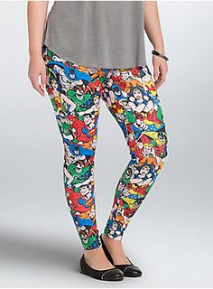 """<p>We could be heroes with these hero print leggings! All of your DC faves turn up in a multi-color print. The sheeny scuba, stretch waistband, and tapered leg lend major comfort to the crime-fighting style.</p> <ul> <li>Size 1 measures 29 1/2"""" inseam</li> <li>Polyester/spandex</li> <li>Wash cold, dry low</li> <li>Imported plus size leggings</li> </ul>"""