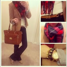 Polka Dots and Leopard Spots--Camel blazer and plaid scarf