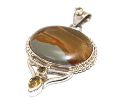 GORGEOUS Picture Jasper and Faceted Citrine Gemstones Encased in .925 Sterling Silver Pendant | AyaDesigns - Jewelry on ArtFire