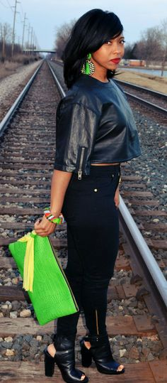 Remixed Crop Leather Top by Sweenee Style