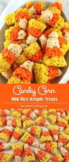 Our colorful and festive Candy Corn Mini Rice Krispie Treats are adorable…