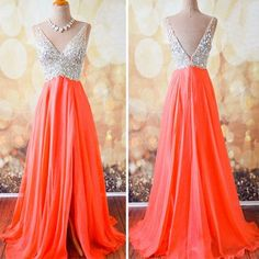 Gorgeous Coral Formal A Line V Neck Side Split Shinning Long Prom Dresses, WG202
