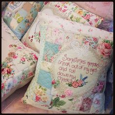 Sometimes memories sneak out of eyes and roll down my cheeks. Some more cushions available at The Handmade Cottage at Mt Tamborine. Embroidery Designs, Embroidery Transfers, Vintage Embroidery, Vintage Sewing, Cross Stitch Embroidery, Hand Embroidery, Vintage Linen, Upcycled Vintage, Vintage Fabrics