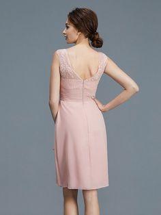 Sheath/Column Sheer Neck Ruffles Chiffon Sleeveless Knee-Length Mother of the Bride Dresses