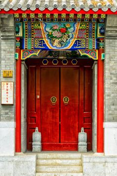 Temple door, Shanghai, China