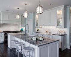 Grey Granite Island White Cabinets Countertops Kitchen With Gray
