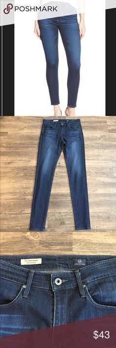 "AG ""Farrah/High-Rise Skinny"" jeans! AG ""Farrah/High-Rise Skinny"" jeans! Size 29R. Measurements are approximately: inseam 31"", rise 10"", waistband 30"". Dark blue denim with factory fading on the thighs and rear. Excellent, like new condition. See pics! AG Adriano Goldschmied Jeans Skinny"