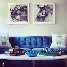 Loving this sitting area designed by @stonetextile using our #theteacher pillows in pesto! #eskayel #pillows