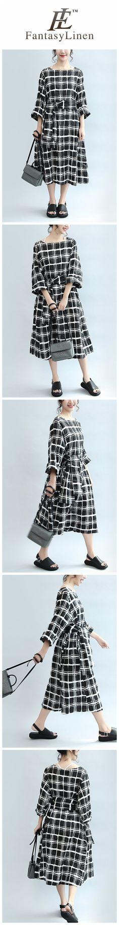 Plaid Casual Loose Linen Dress Women Clothes  Q2405