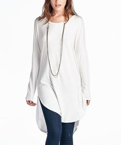 Another great find on #zulily! Ivory Scoop Neck Tunic by Paolino #zulilyfinds