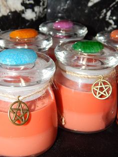 Temple Clearing Resin & Herb Candles - The Ideal Candle for Ritual Use! - Reusable Dragon's Vein Agate Gemstone Apothecary Jars
