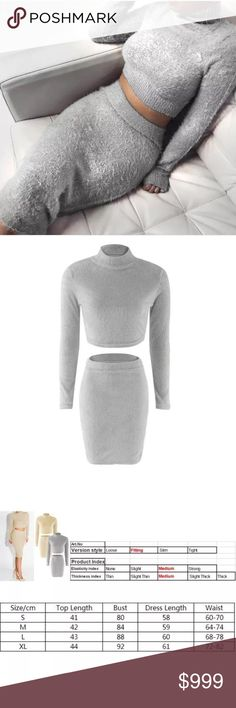 Coming Soon! Sexy Women Winter Autumn Long Sleeve BodyCon Slim Knit Party Sweater Midi Dress Features:  100% Brand New & High Quality  Beautiful fleece, premium quality, soft & comfortable feel Can be stretched (Medium-level elasticity) Ideal for everyday, cocktail party, evening party, etc  Top & Skirt only, any other accessories not included  Material: Polyester Spandex Fleece  Color: Grey | Beige  Size: M/L Skirts Skirt Sets