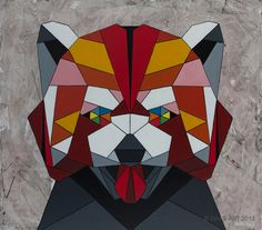 Geometric inspired painting of a Red Panda by DAAS