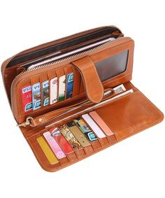 Women's Bags, Wallets,Womens Wallets Holder Capacity Ladies - Camel-e -