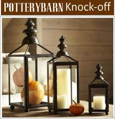 DIY pottery barn weston lantern using old brassy light fixtures and spray painting them. Large Lanterns, Metal Lanterns, Pottery Barn Lanterns, Old Lights, Pottery Barn Inspired, Lantern Lamp, Candle Sconces, Fall Decor, Home Accessories