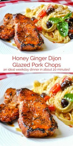 Honey Ginger Dijon Glazed Pork Chops. Quick easy & few ingredients!