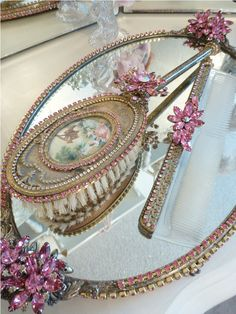 Bejeweled Vanity - Dresser Set - Vintage  - 3 Piece Set Victorian Romantic  Scene Pink Jewels-Weiss, Juliana,brush, comb, vintage, Clock,tray, mirror, perfume, antique, vintage, victorian, Sparkle, Eisenberg, Judy Lee,
