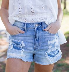 Runs comfy and oversized for a great fit. Model is size 2 wearing a small. Distressed Shorts, Lounge Pants, Summer Tops, Blue Tops, New Look, Perfect Fit, Blues, Denim Shorts, Comfy