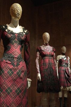I saw the Tartan Dresses at the Alexander McQueen Exhibition the symmetry was just breathtaking.!