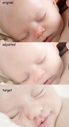 correcting to get creamy white shin tones for newborns