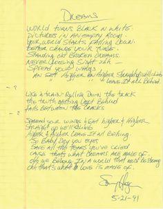 "Sammy Hagar of Van Halen handwritten signed lyrics for ""Dreams"".  Rock 'n' Roll Auction, Lot 222 / December 18th, 2013  https://www.profilesinhistory.com/auctions/rock-roll-auction-59-2/"