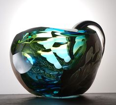 """Hiroshi Yamano -  Nagare #62 2008 blown glass, etched silverleaf, copper overlay 10.5 x 14.5 x 13"""""""