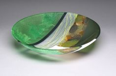 R.A. Morey Kiln Formed Glass Fused Glass - bowls - Green Trees 3608