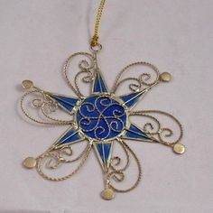 stained glass quilling | Suncatcher Ornament Capiz Star W Gold Metal Scroll work at www ...