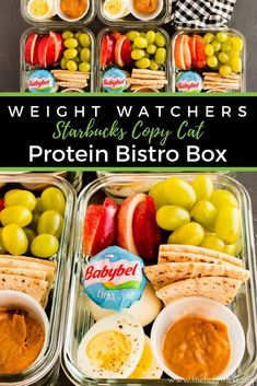 Weight Watchers Protein Bistro Box - Starbucks Copy Cat This absolutely delicious lunch is so easy to prepare for the week and just 5 WW freestyle smart points Weight Watchers Snacks, Plats Weight Watchers, Weight Loss, Healthy Recipes, Cat Recipes, Lunch Recipes, Healthy Snacks, Easy Healthy Lunch Ideas, Goodies