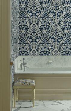Elegant Wallpapered Bathroom
